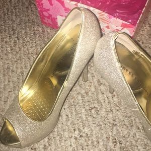 Glitter light gold heels from Chinese laundry